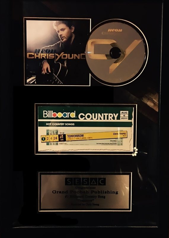 "Plaque for #1 hit on Billboard Charts for ""Tomorrow"" by Chris Young"